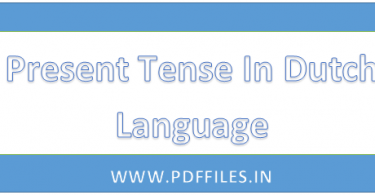 ' Present tense in Dutch language '