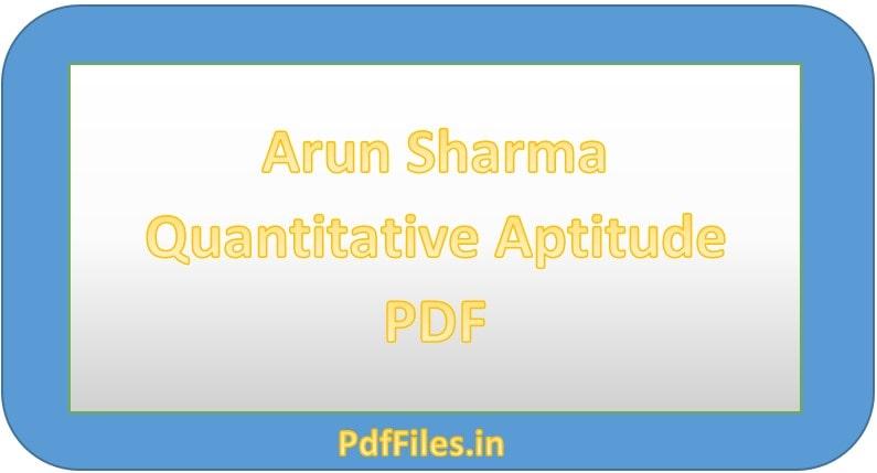 ' Arun Sharma Quantitative Aptitude PDF ' ' Quantitative Aptitude PDF '
