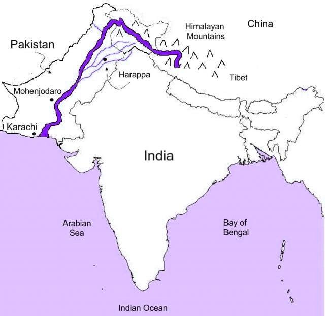 ' Sindhu River ' ' Sindhu River Map ' ' Map of Sindhu River '